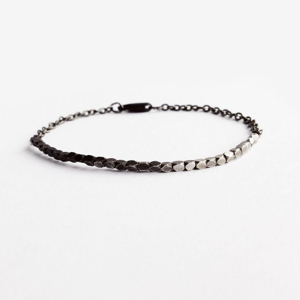 Black and Silver Ombre Sterling Bracelet
