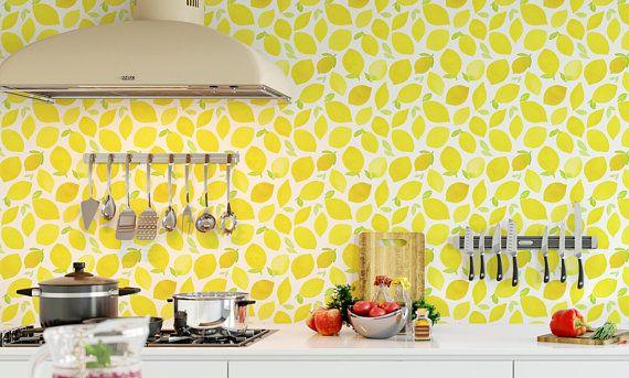 Lemon Wallpaper Watercolor Yellow Vibrant Wall Mural Self