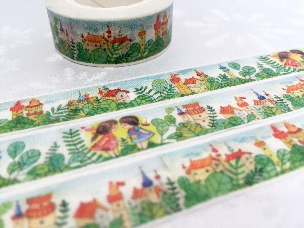 fairytale village washi masking tape, 10M Forest tree fairy tale kids kid Couple twin friends forever sticker tape, planner scrapbook gift