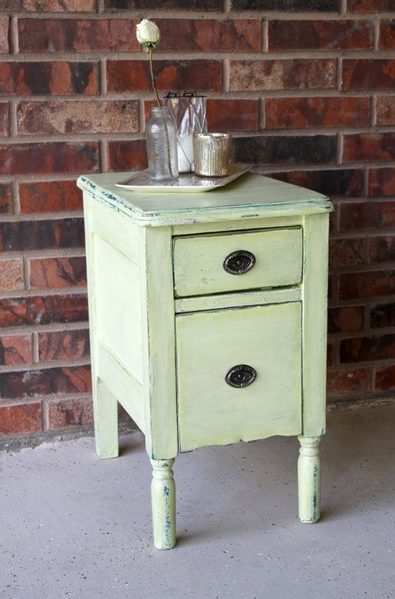 Pale apple vintage side table I Love vintage furniture Painted
