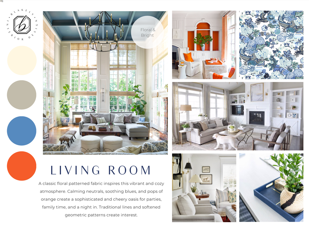 Schematic Design Board Living Room Orange Blue Cream Color Palette Fresh Lively Blakely Interior Design In 2020 Interior Design Interior Design Resources Board Design #orange #and #cream #living #room