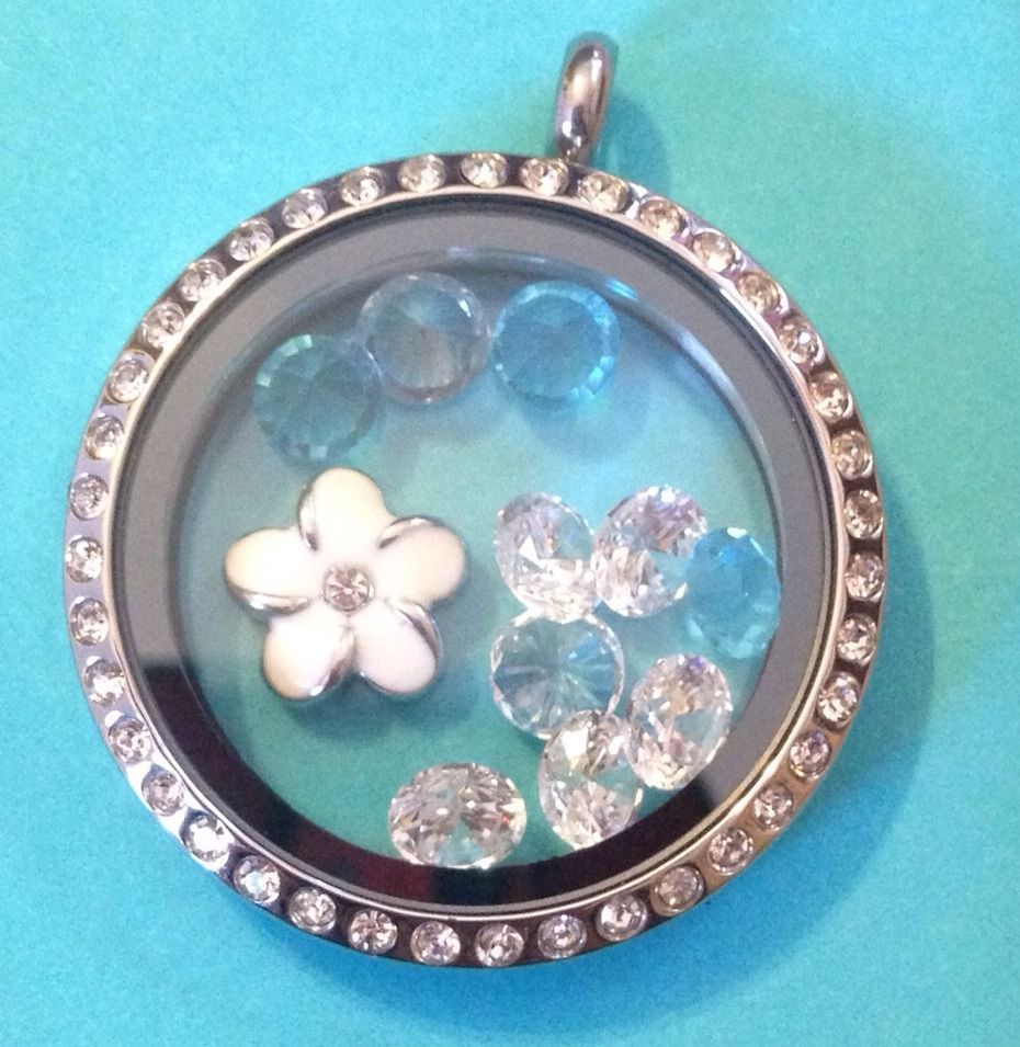 Origami Owl Authentic Large Silver Locket With Crystals AND 5 Birthstone Crystal