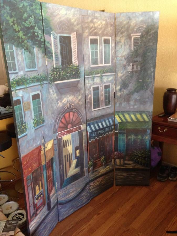 6 ft Tall Double Sided Parisian Street Room Divider Cafe art