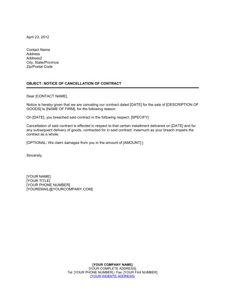 Notice Cancellation Contract Template Amp Sample Form Biztree How
