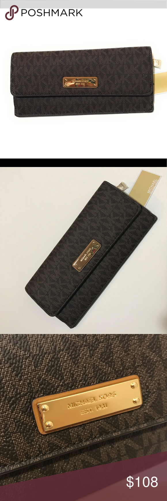 ef26c73d21f7 Michael Kors Brown MK money Pieces Flat Wallet NWT New with tags attached! Michael  Kors