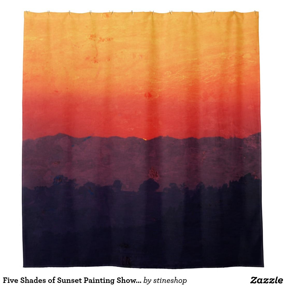 Five Shades of Sunset Painting Shower Curtain