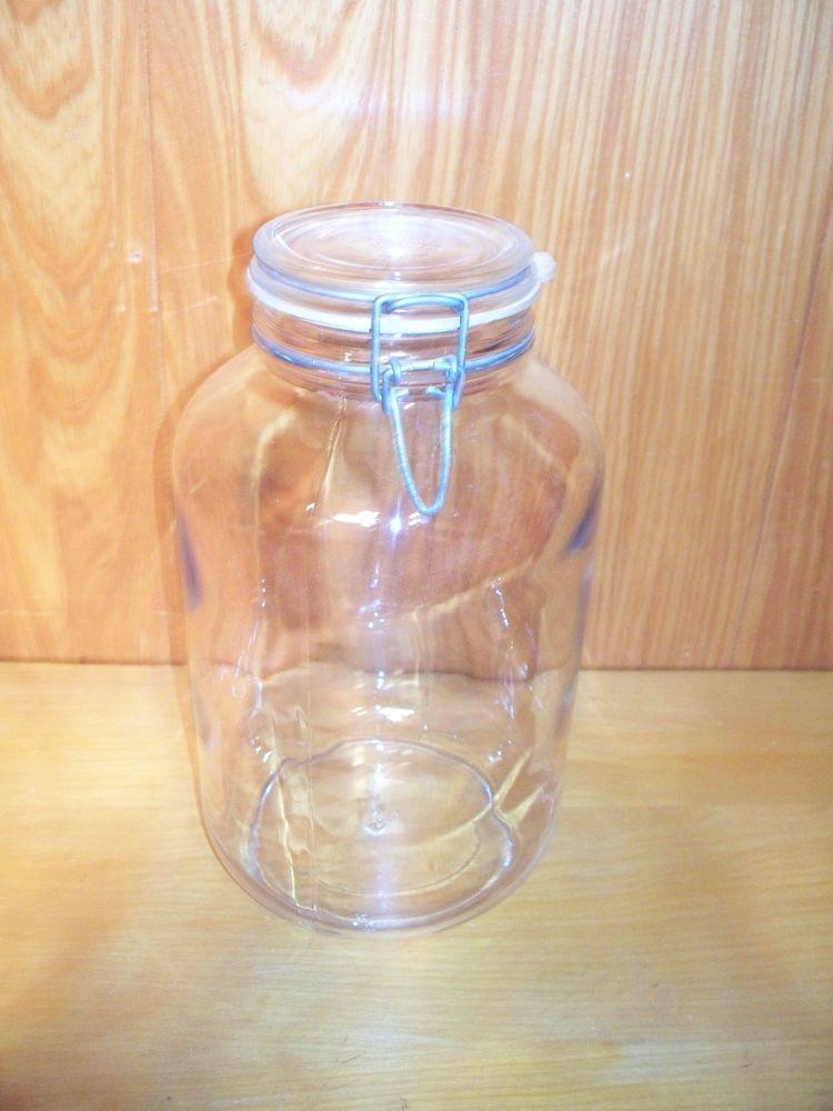 Collectors Vintage FIDENZA FIDO VETRI Glass Canister Jar #4 1 Gallon ITALY....found at GW half full of shells