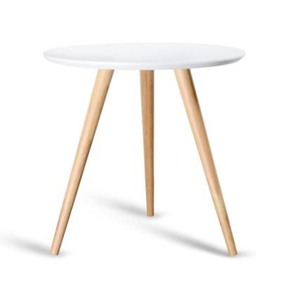 Round Bedside Coffee Table W Rubber Wood Legs Photo 1 Round Bedside Table