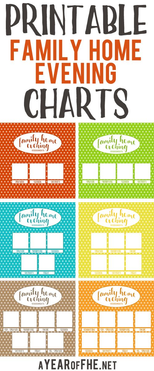 These Free Printable Family Home Evening Charts Are So Cute And There For Families From 3 Members To 8 Directions Printing
