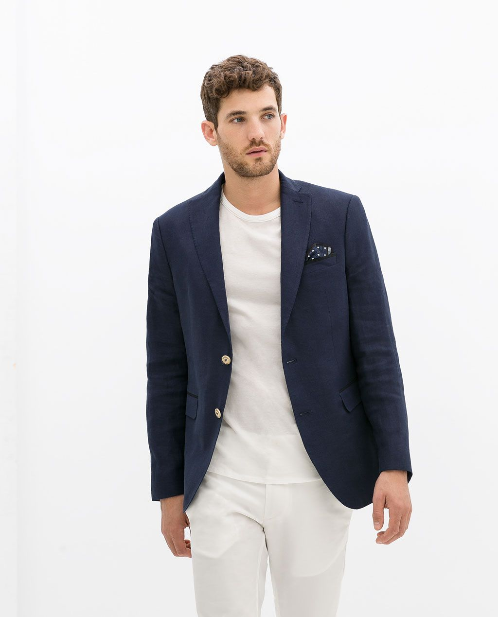 ZARA - MAN - LINEN BLAZER WITH CONTRASTING ELBOW PATCHES