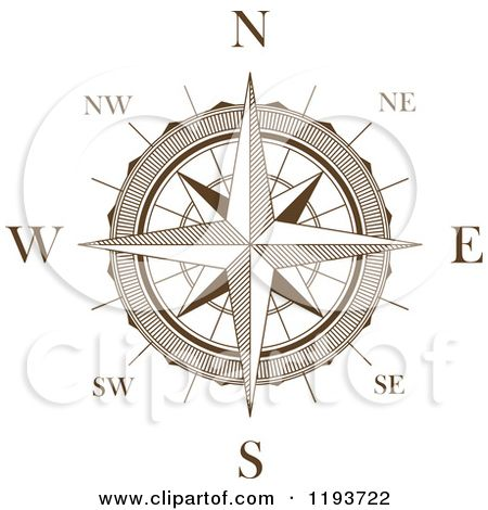 clipart of a brown and white compass rose 3 royalty free vector