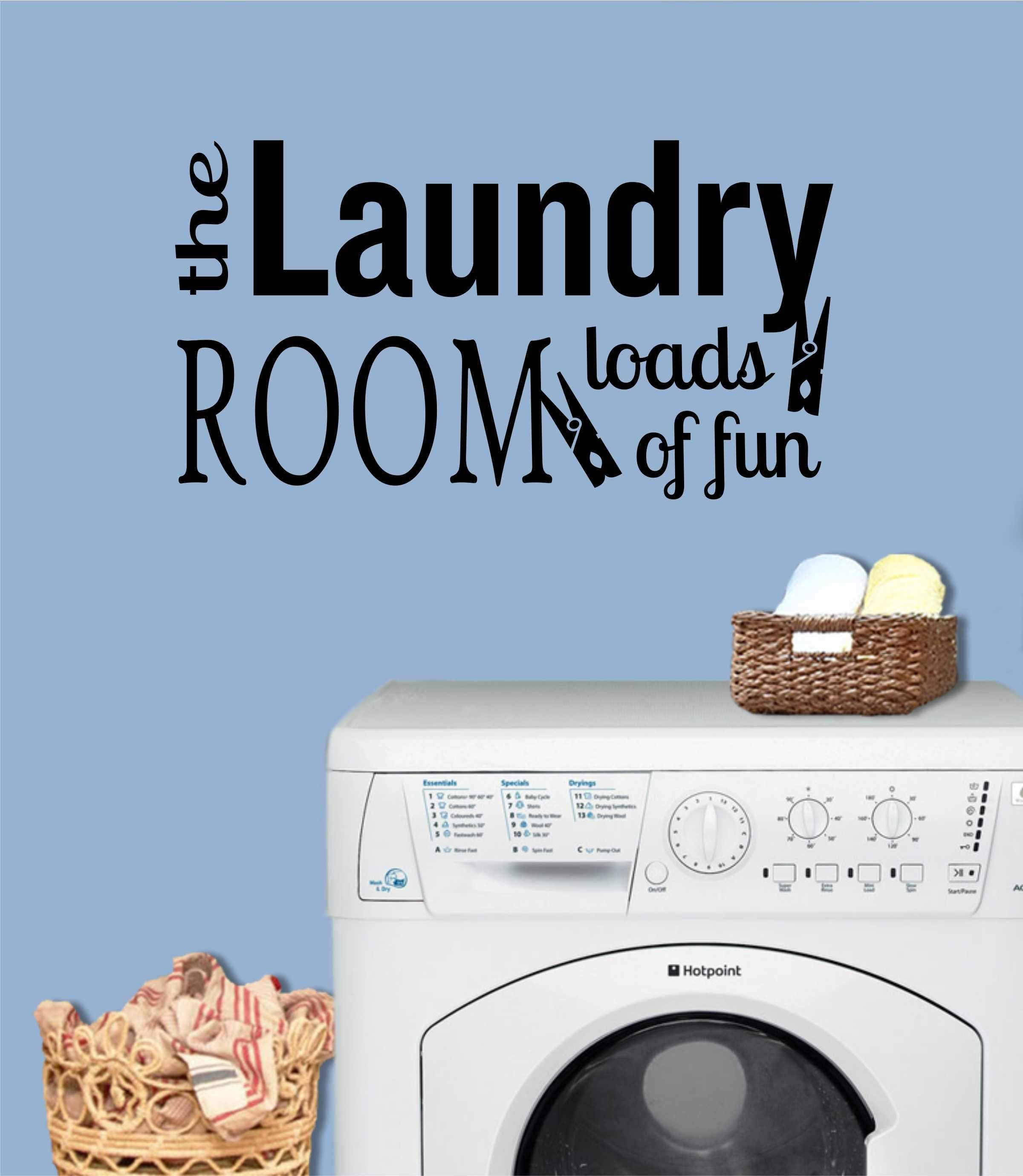 Laundry Loads of Fun Vinyl Decal Wall Lettering