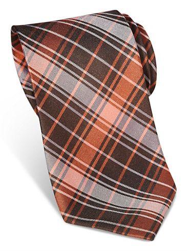 Ties - Egara Orange Plaid Narrow Silk Tie - Men's Wearhouse