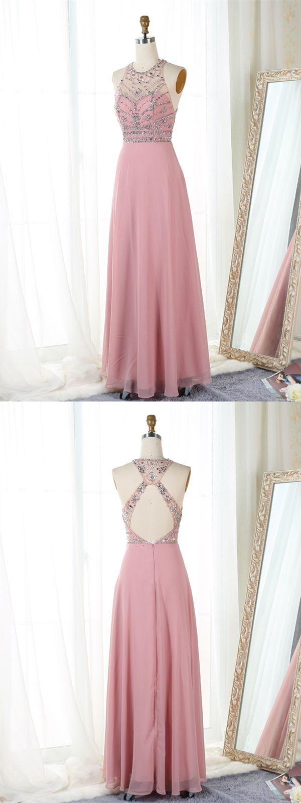 A-Line Jewel Open Back Floor-Length Blush Prom Dress   Pinterest ...
