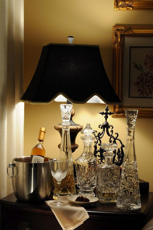 Charmant Bar Table With Crystal Decanters @Joann Petrlak   Maybe A Crystal Lamp On  Your New Table??? :)