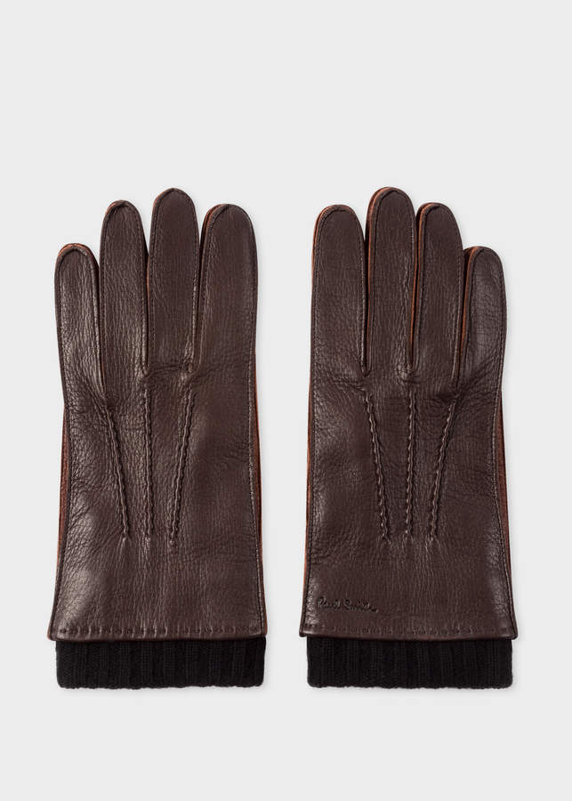 99f96d1e5f05e Paul Smith Men's Chocolate Brown Deerskin Silk-Cashmere Lined Gloves