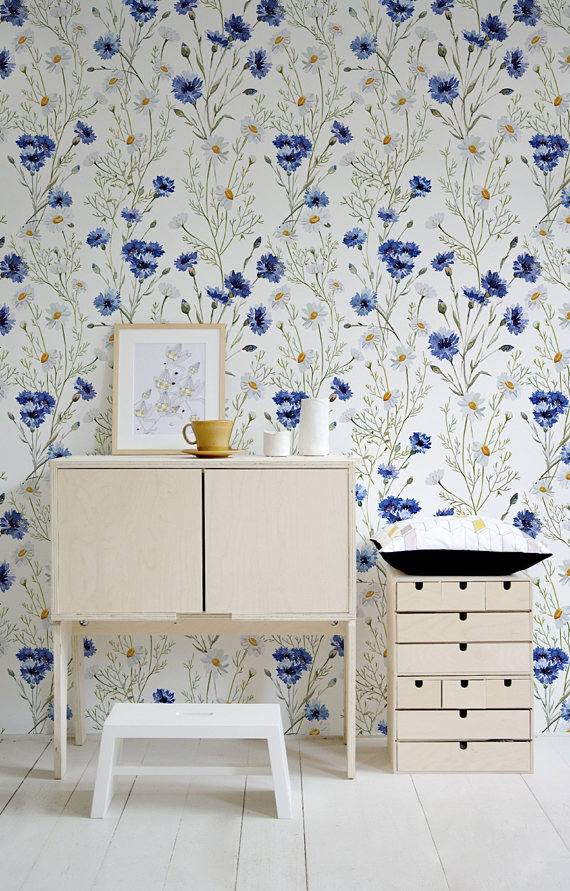 Blue Vintage Wallpaper, Wall Mural, Blue Flowers, Floral