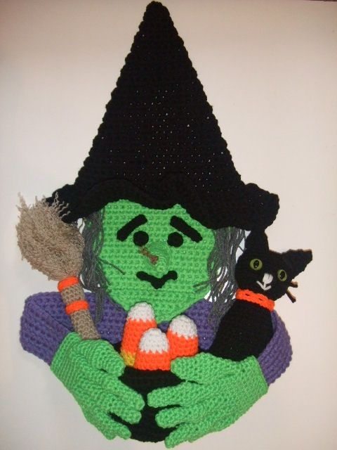 Crochet Pattern for Halloween Witch Door Hanging. $7.99 Pattern can be found at…