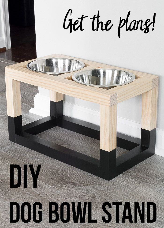 Simple DIY Dog Bowl Stand Plans - Diy dog stuff, Dog bowl stand, Dogs diy projects, Wood diy, Dog bowls, Diy furniture projects - Learn how to build a DIY raised dog bowl stand with a simple and modern design  The free DIY dog bowl stand plans show you how to build it in under $5!