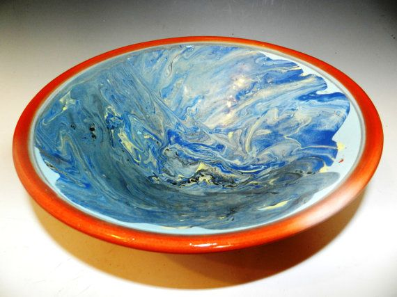 Blueocean terracotta bowl by MarkCampbellCeramics on Etsy, $45.00