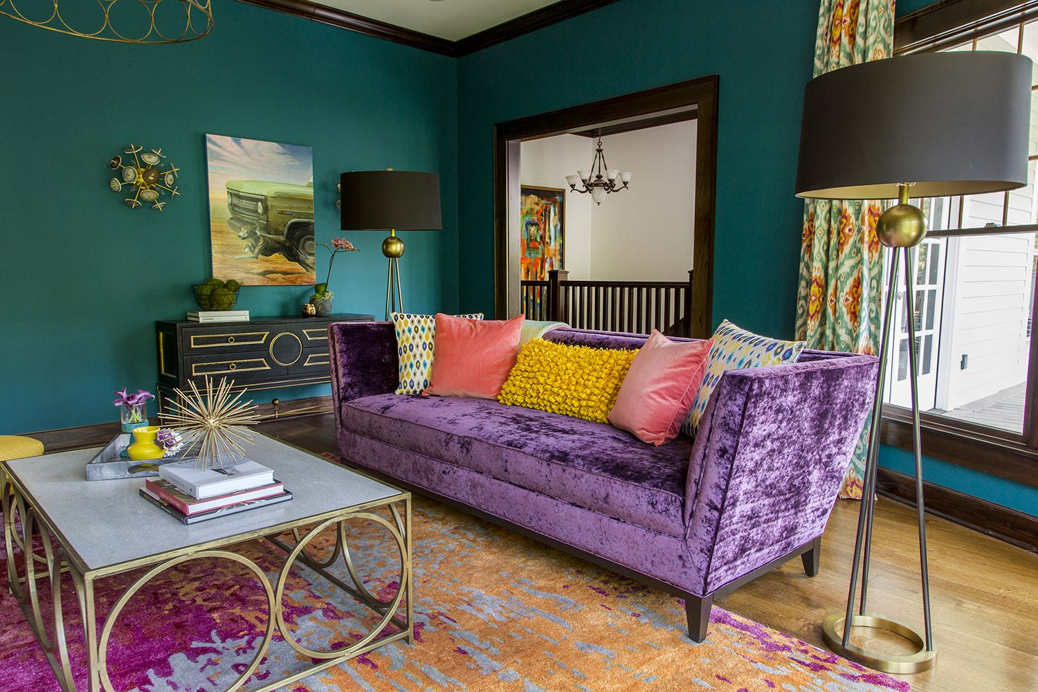 Analogous Color Scheme With Blue On Walls And Purple As Secondary