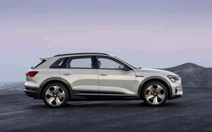 Download Wallpapers Audi E Tron 2019 Side View Electric Crossover New White E Tron German Electric Cars Audi Besthqwallpapers Com Audi E Tron E Tron Electric Crossover