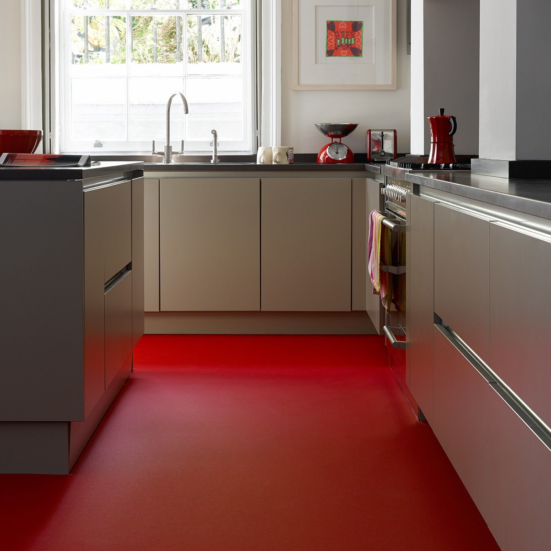 Red Flooring Kitchen: True Colours UNI 518 Vinyl Flooring