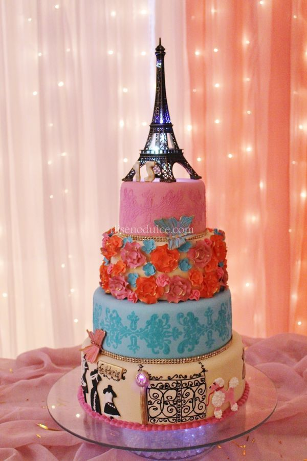 Originally for a sweet 15th, I think any girl who loves Paris would adore this cake!  Paris, Eiffel Tower, Vintage
