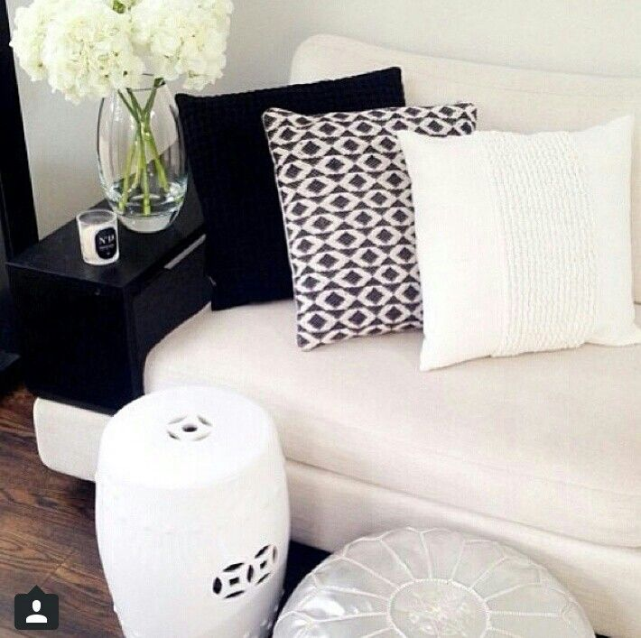 White Couch Black And White Cushions | ABODE | Pinterest | White