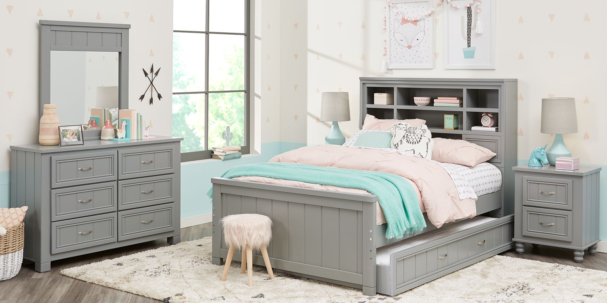 kids cottage colors gray 5 pc twin bookcase bedroom in 2020 | girls bedroom sets, grey bedroom
