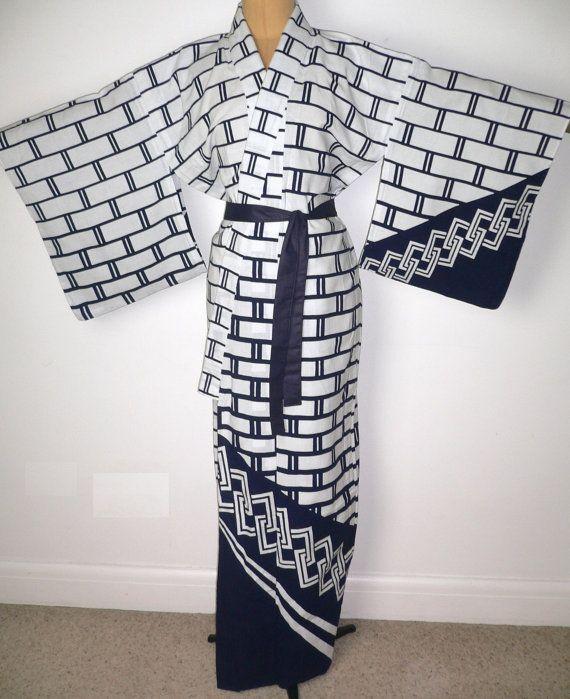 fe6237d86b Fabulous Japanese Authentic Yukata Odori Eba Cotton Kimono Robe ...