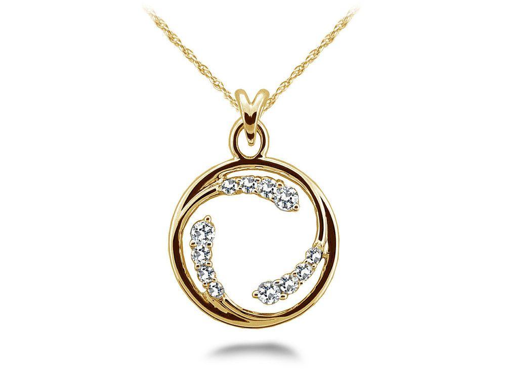 New 14k Yellow Gold Diamond Circle Of Love Pendant Necklace Jewelry Diamond Circle Pendant Diamond Pendant Circle Diamond