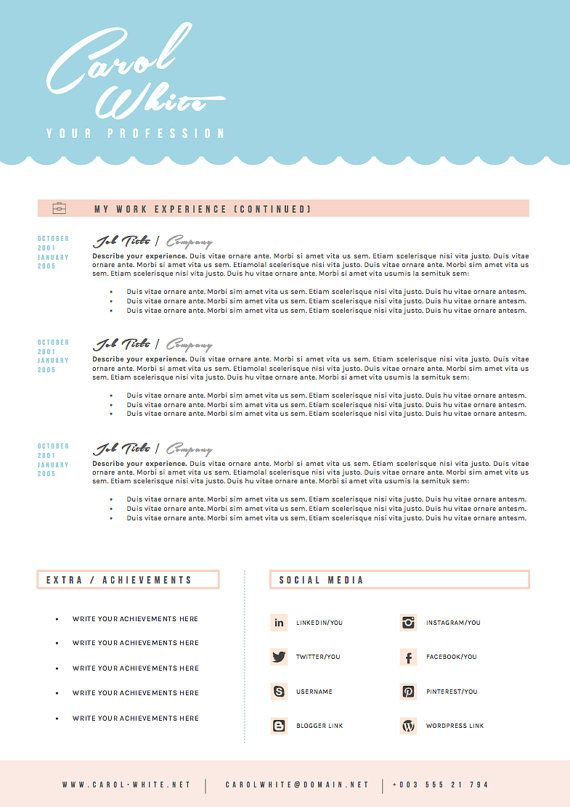 Social Media Cover Letter Resume Cv Design Cover Letter Template For Word Por Oddbitsstudio