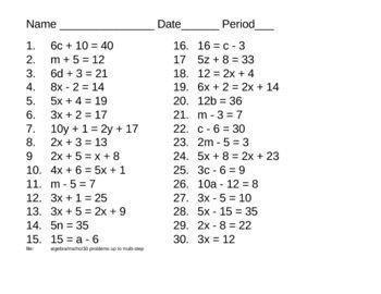 Algebra - 30 problems - some 2 step equations | Equation