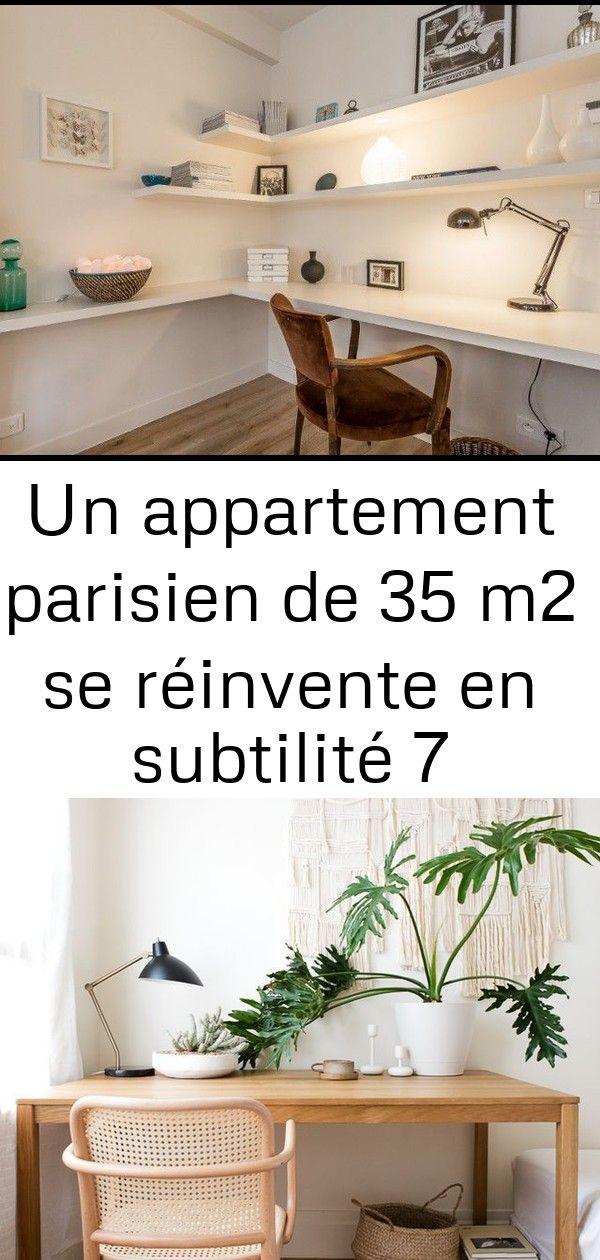 Un appartement parisien de 35 m2 se réinvente en subtilité 7 Un bureau discret et pratique Petit appartement minimaliste  Blog Déco  Clem Around The...