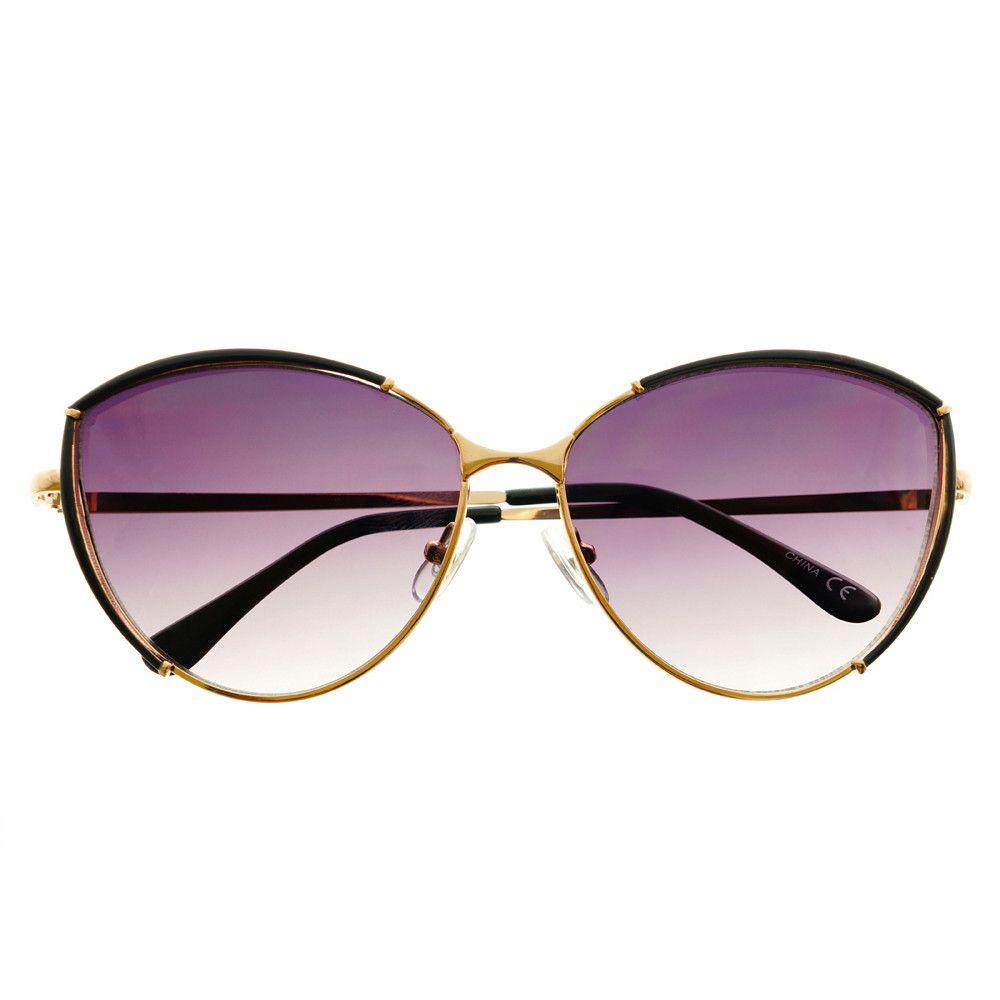 Large fashion designer womens metal cat eye sunglasses