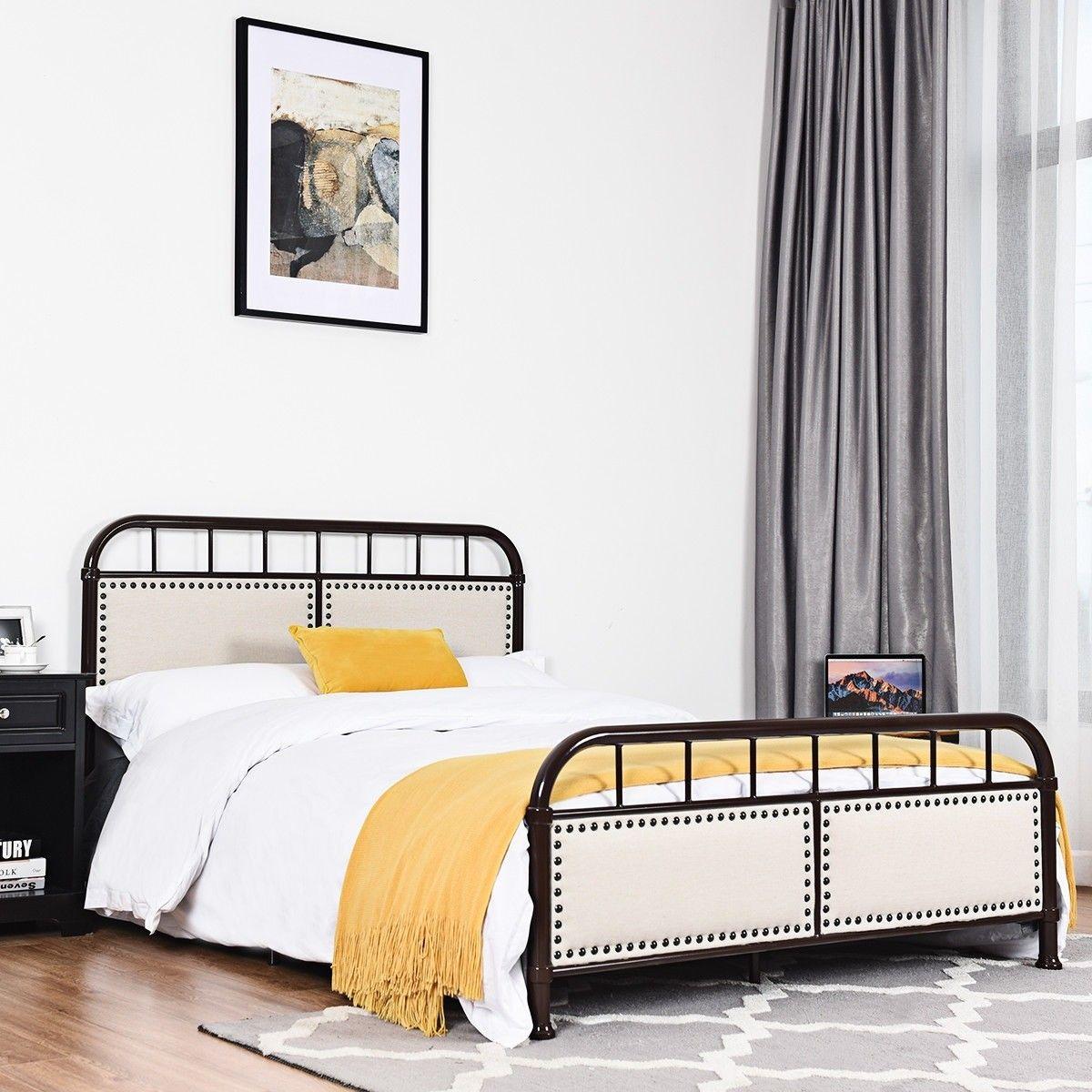 Full Size Metal Upholstered Panel Headboard Bed Frame
