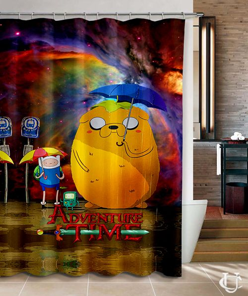 Adventure Time Nebula Games BMO Shower Curtain Bathroom Design Vintage Custom Gift Decosaration