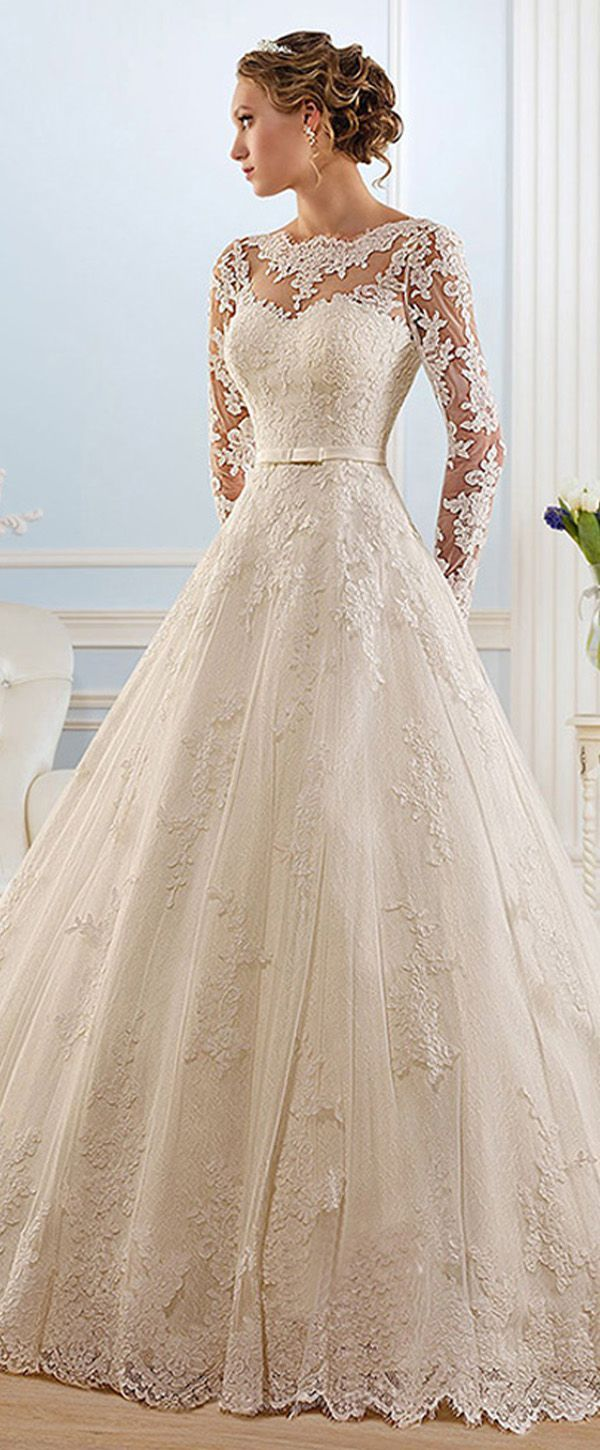 Glamorous tulle bateau neckline ball gown wedding dress with lace