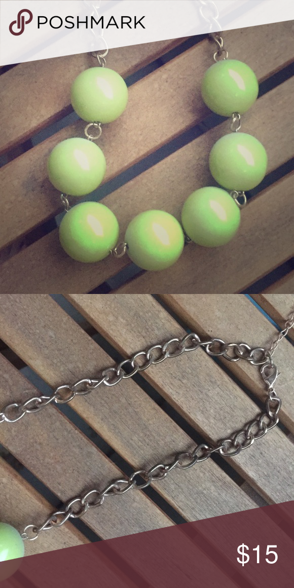 BUBBLE Necklace Used, but good condition, light tarnish on necklace but can be cleaned, lime green bubbles, price discounted for tarnish Jewelry Necklaces