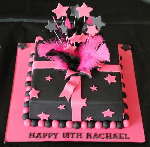 Girls 18th Birthday Cake Square