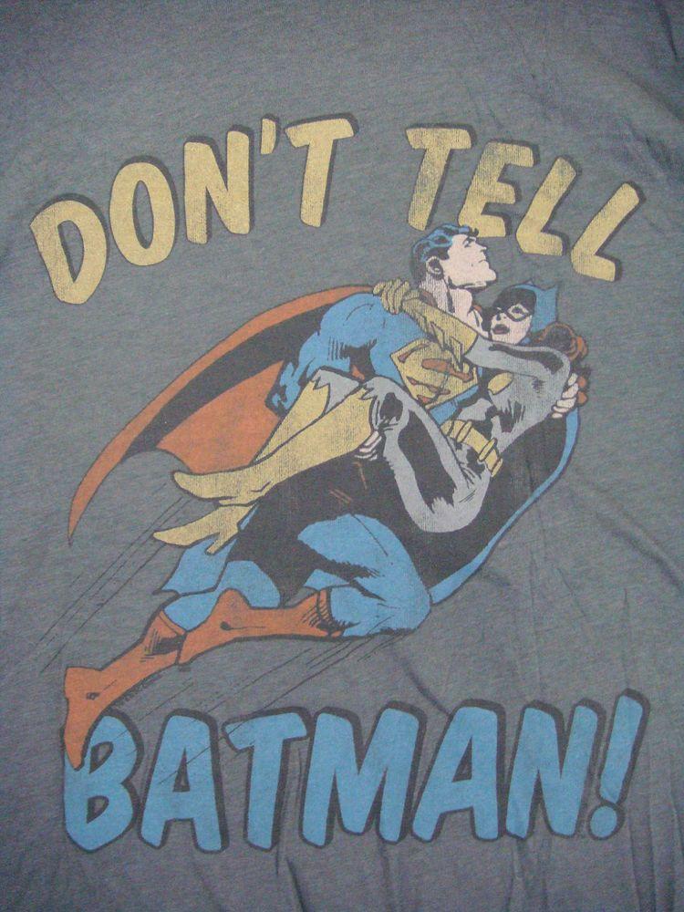 Rare Dc Comics Junk Food Don T Tell Batman Shirt Superman Catwoman New Oop Htf Batman Shirt Comics Dc Comics