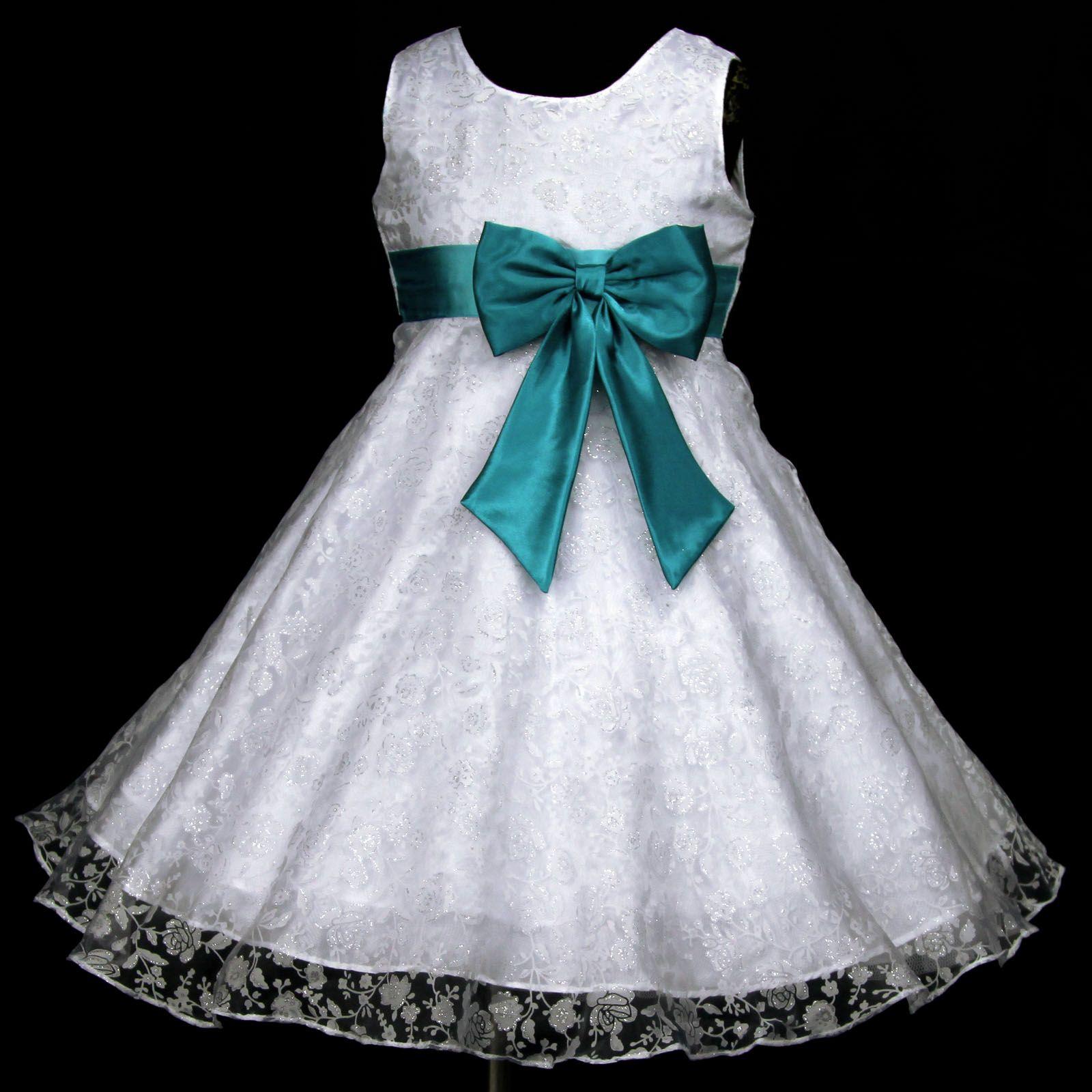 w928-bn7-Hellblau-Aqua-Brautjungfer-Hochzeit-Blumenmaedchen-Kleid ...