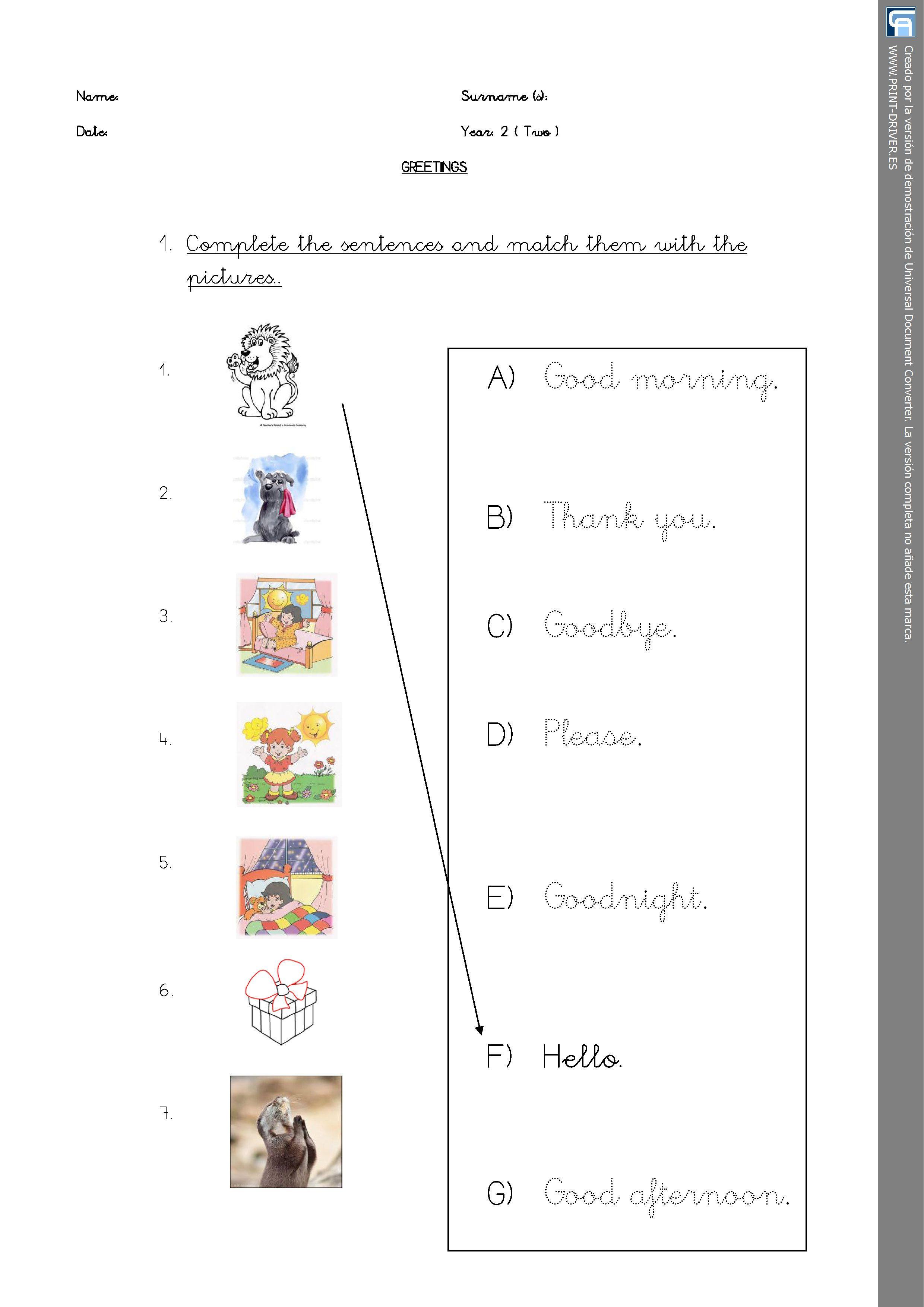 Matching Activity Greetings Worksheet Personal Teaching