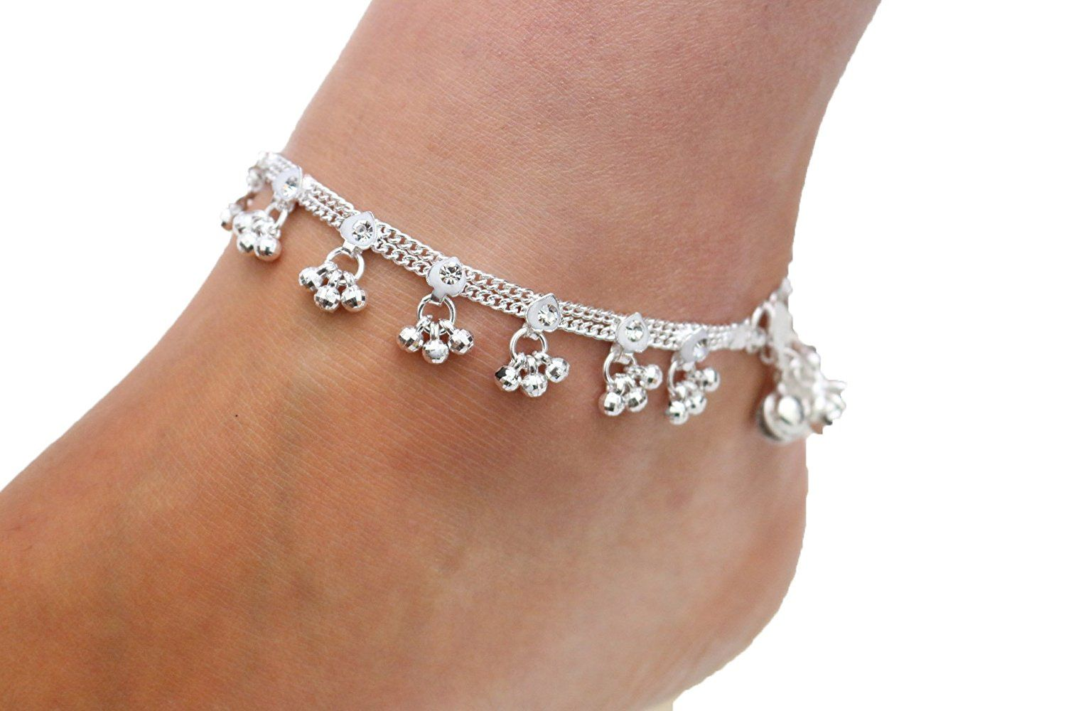 Pair Indian Star Anklet Payal Silver Tone Bracelets Ankle Chain Fashion Jewelry High Quality Goods Fashion Jewelry