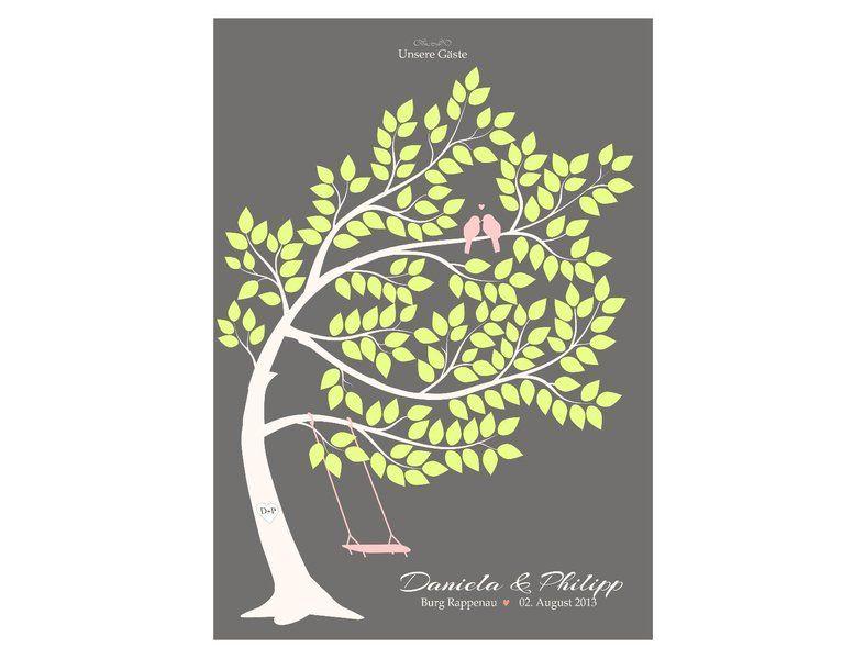 Wedding Tree, Gästebuch mit Herzen (W112)