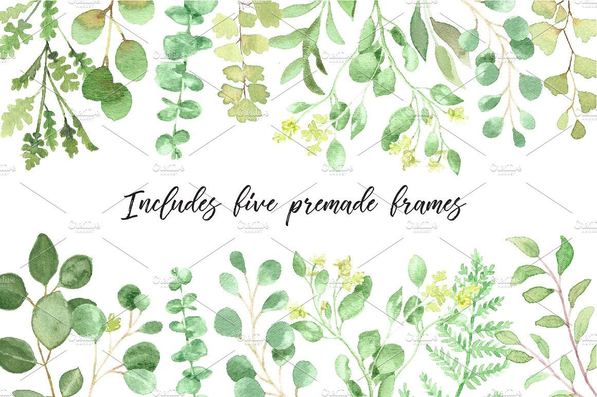 Watercolor Greenery Floral Set Floral Sets Watercolor Design