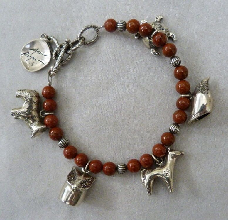 ANDREW RODRIGUEZ CAROLYN POLLACK STERLING SILVER RED JASPER CHARM BRACELET