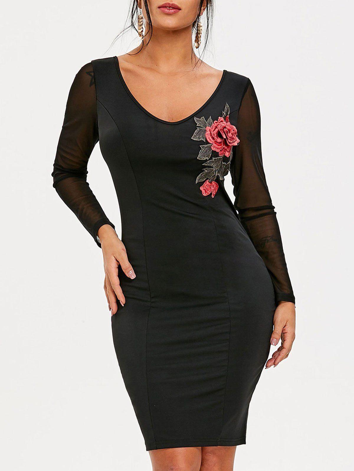 Sheer Sleeve Embroidered Club Dress Club Dresses Sheer Sleeves Mesh Sleeves [ 1596 x 1200 Pixel ]