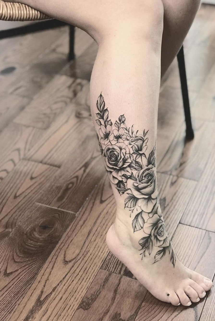 Flower leg tattoo in 2020 with images wrap around